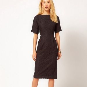 New ASOS Wiggle Dress in lace, black 2 0 XS